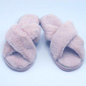 I.N.C. Women's Faux-Fur Cross Band Slide Slippers